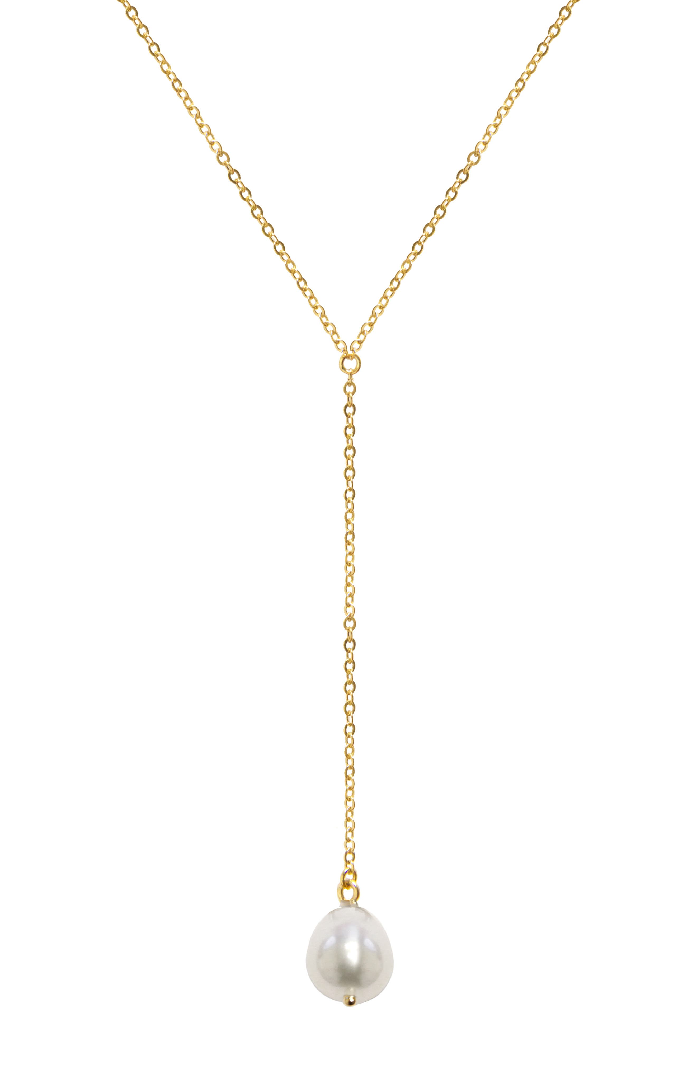 Briolette Gemstone Y-Necklace, Main, color, YELLOW GOLD/ PEARL