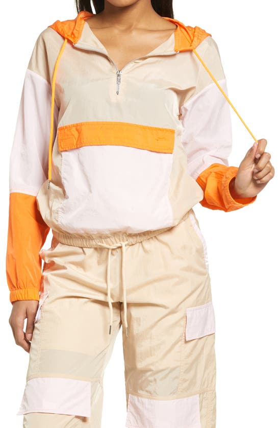Kendall + Kylie Hooded Parachute Jacket In Ivory/ Blush/ Orange