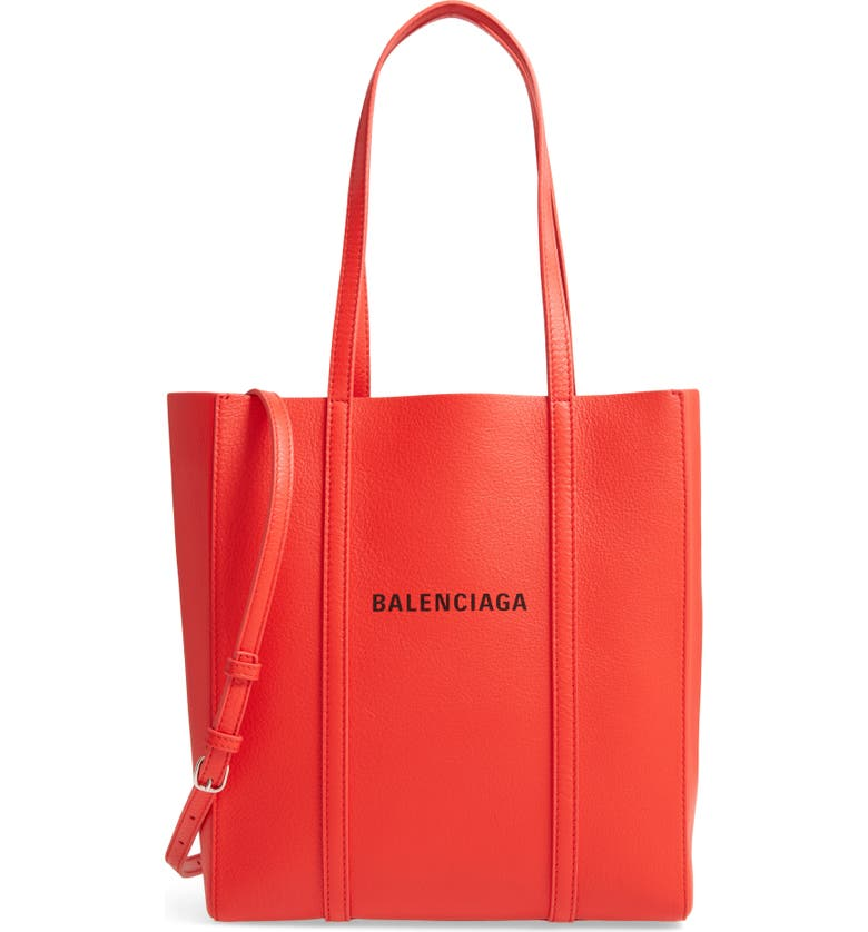 BALENCIAGA Extra Small Everyday Logo Calfskin Tote, Main, color, VIVID RED/ BLACK
