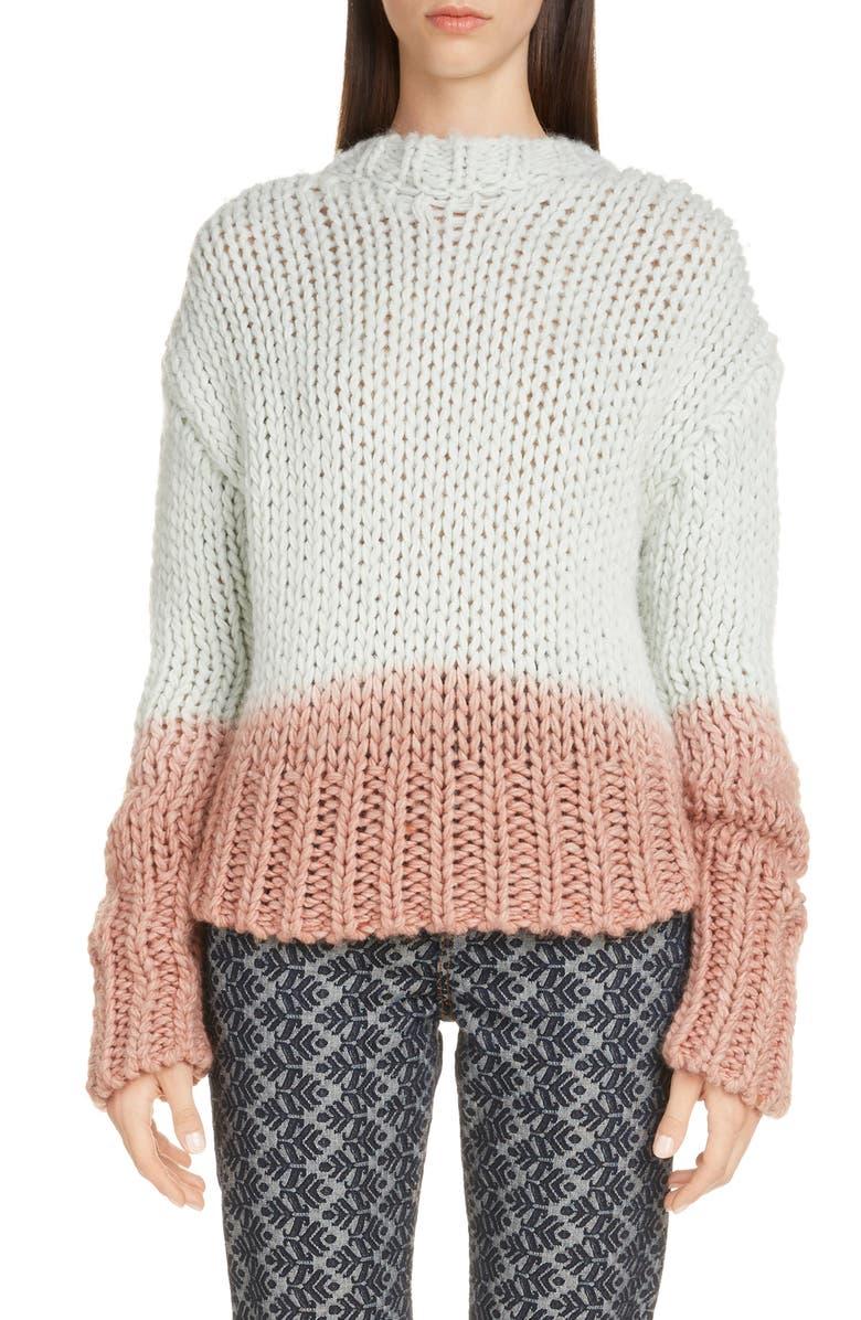 ACNE STUDIOS Kirene Dip Dye Mock Neck Sweater, Main, color, PASTEL GREEN