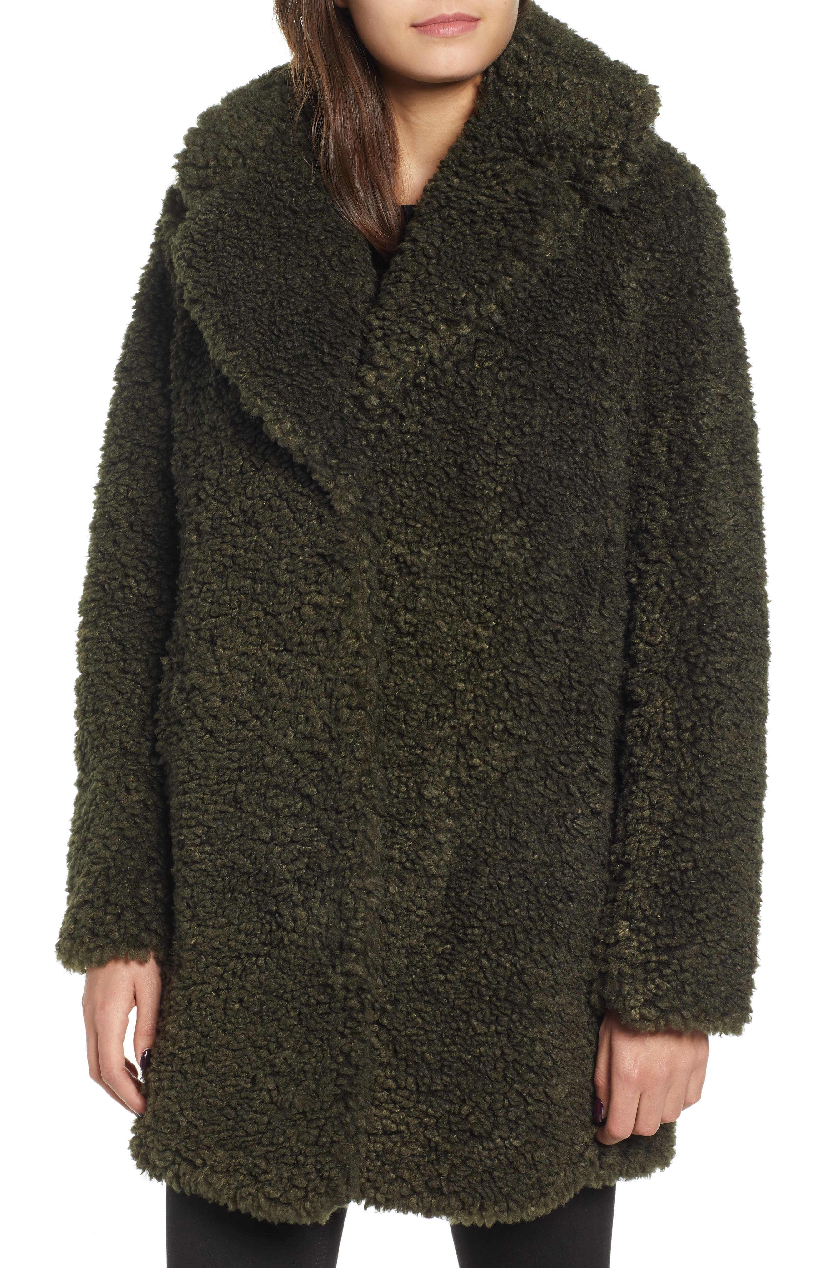 ,                             Faux Shearling Coat,                             Alternate thumbnail 5, color,                             300