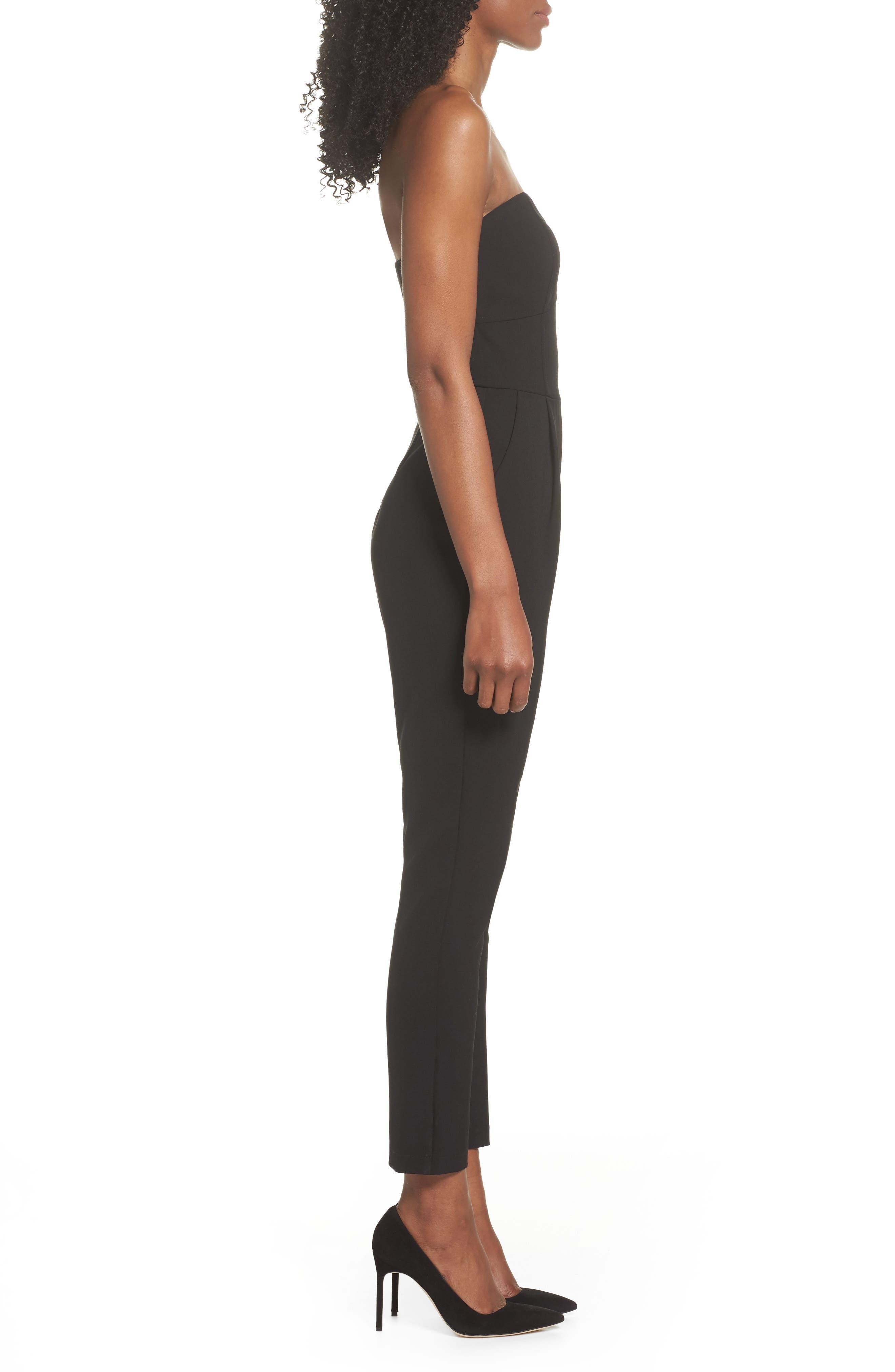 ,                             Strapless Slim Leg Jumpsuit,                             Alternate thumbnail 4, color,                             001
