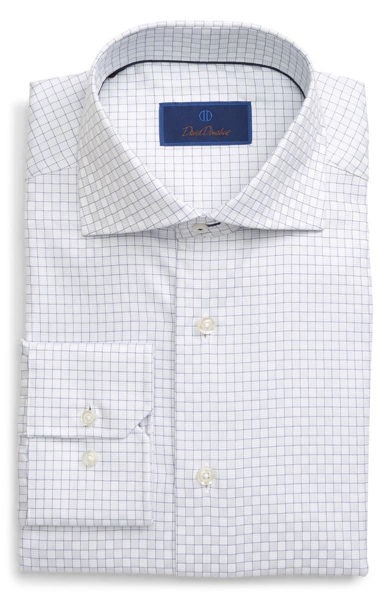DAVID DONAHUE Regular Fit Check Dress Shirt, Main, color, GRAY