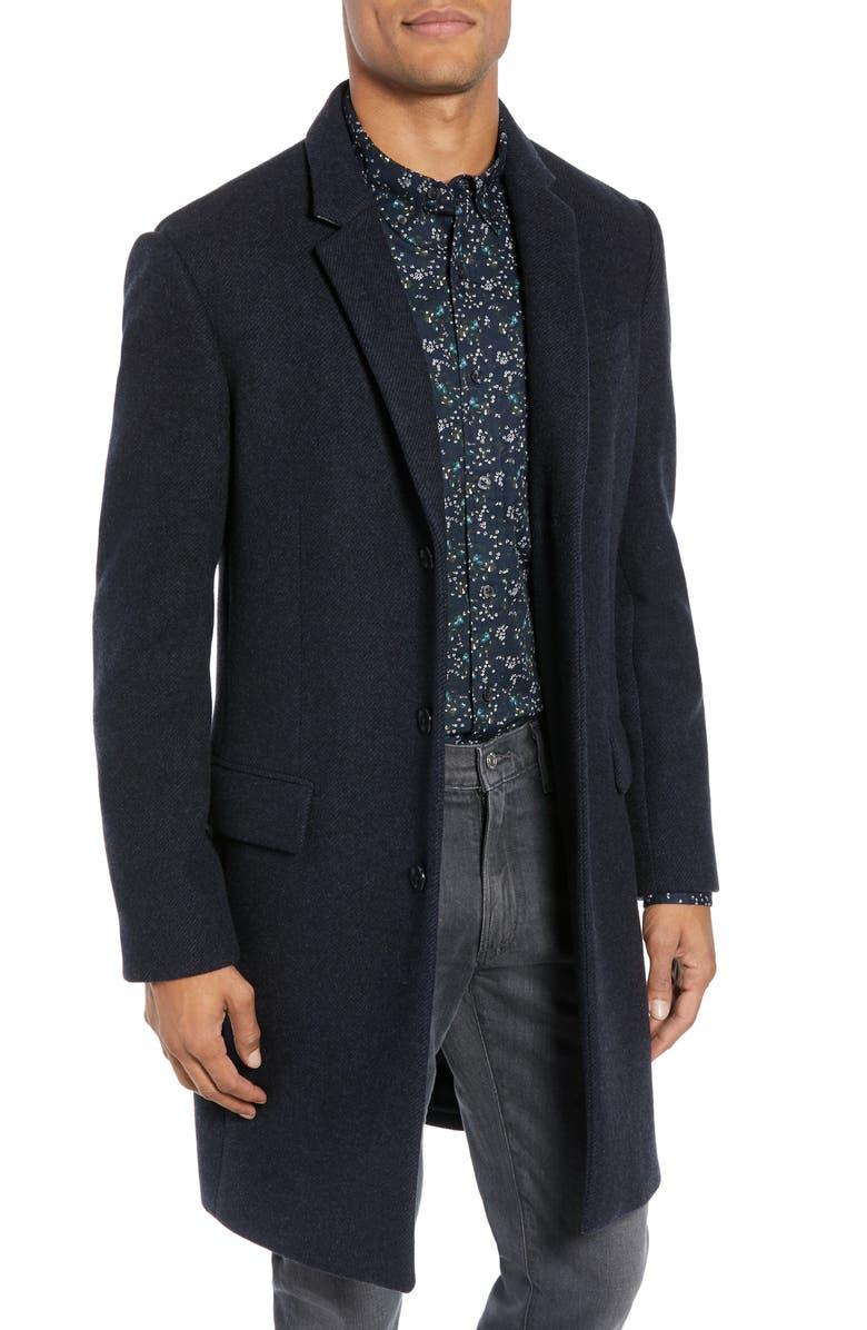 CLUB MONACO Trim Fit Twill Topcoat, Main, color, 410