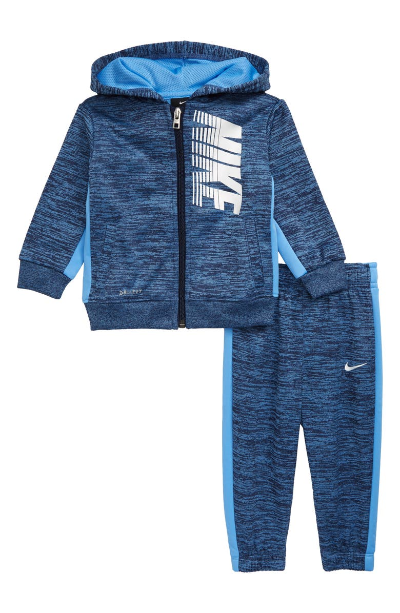 NIKE Dri-FIT Therma Block Full Zip Hoodie & Sweatpants Set, Main, color, MIDNIGHT NAVY HEATHER