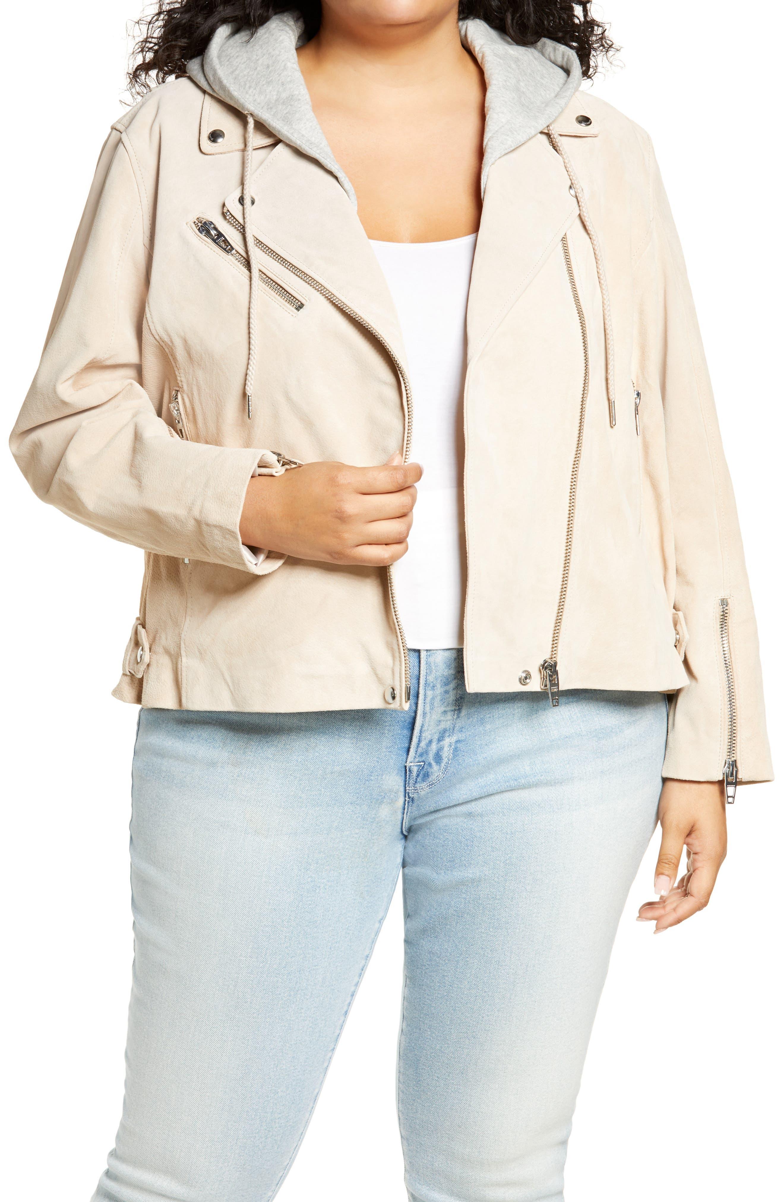 Plus Size Women's Blanknyc Suede Hooded Leather Moto Jacket, Size 2X - White