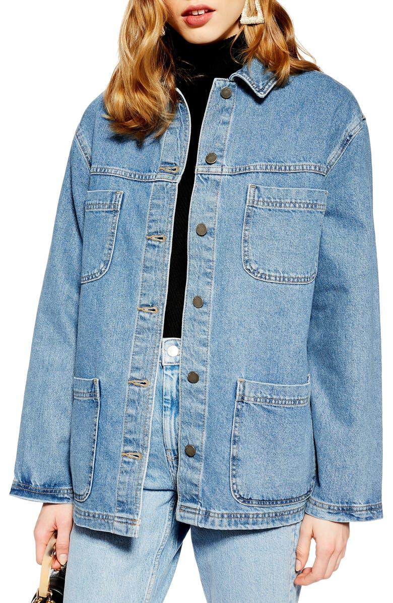 TOPSHOP Oversize Denim Jacket, Main, color, 420