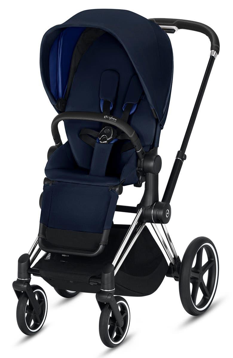 CYBEX e-Priam Chrome Electronic Stroller with All Terrain Wheels, Main, color, INDIGO BLUE