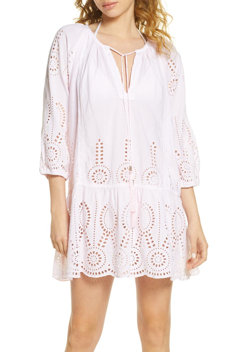 MELISSA ODABASH Ashley Eyelet Detail Cotton Cover-Up Tunic, Main, color, BLUSH