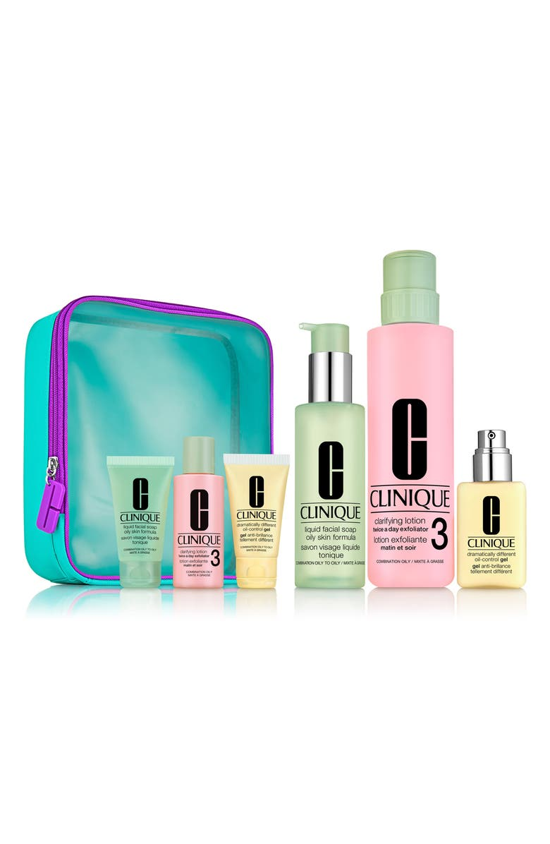 CLINIQUE Great Skin Everywhere 3-Step Skin Care Set for Oily Skin, Main, color, NO COLOR