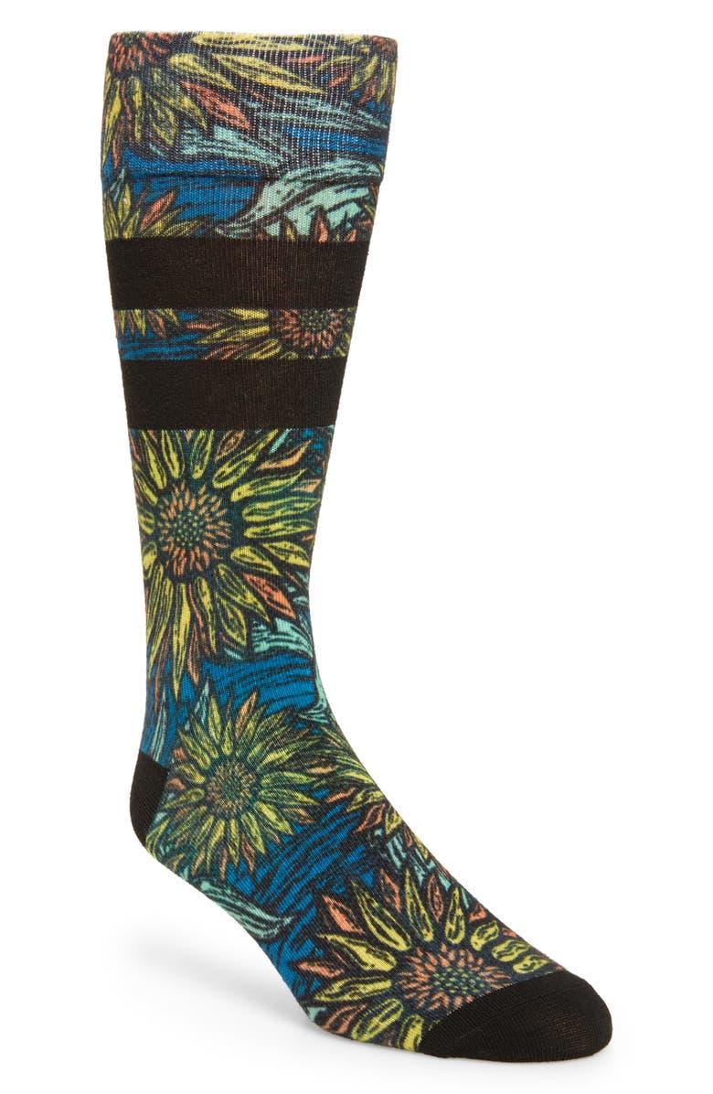 NORDSTROM MEN'S SHOP Dark Floral Socks, Main, color, 001