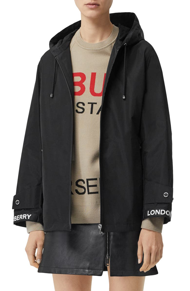 BURBERRY Everton Logo Detail Hooded Taffeta Jacket, Main, color, BLACK