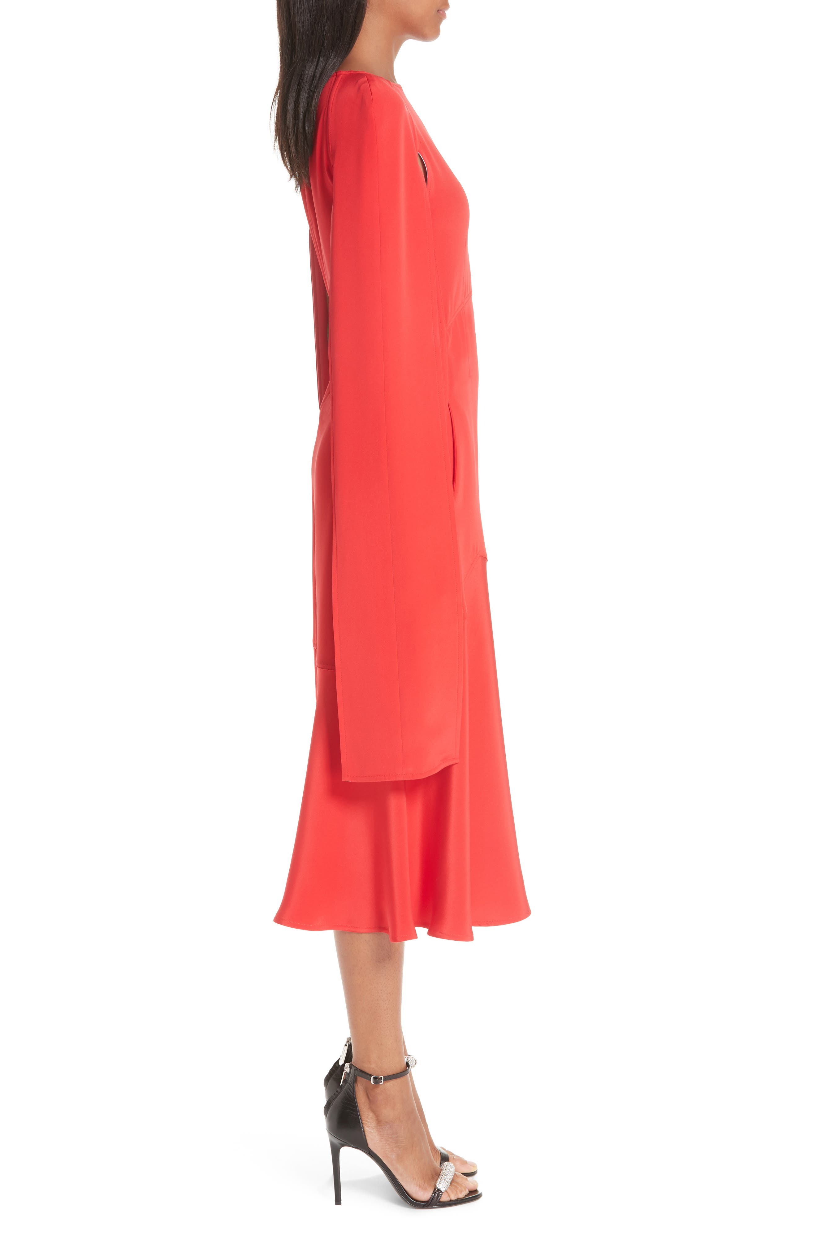 ,                             Cape Sleeve Silk Cady Midi Dress,                             Alternate thumbnail 4, color,                             RED CARNATION PINK