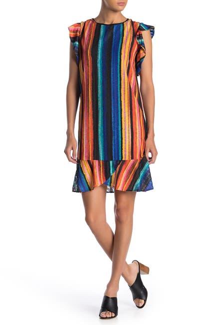 Image of ECI Colorblock Stripe Flutter Sleeve Dress