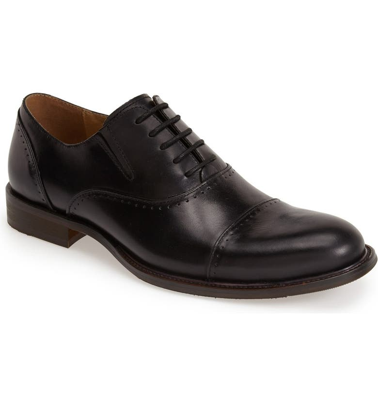 REACTION KENNETH COLE Kenneth Cole Reaction 'Pretty Much' Leather Cap Toe Oxford, Main, color, 001