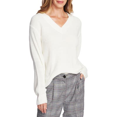 Vince Camuto Ribbed V-Neck Sweater, White