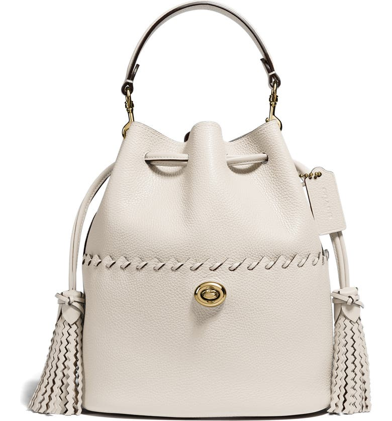 COACH Lora Whipstitch Leather Bucket Bag, Main, color, BRASS/ CHALK