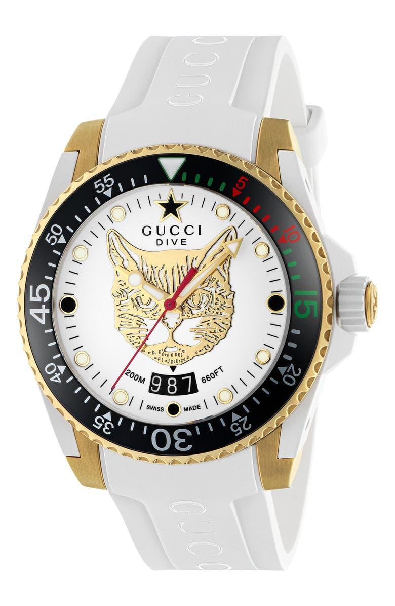 GUCCI Diver Cat Rubber Strap Watch, 40mm, Main, color, WHITE/ BLACK/ GOLD