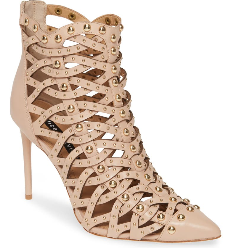 ALICE + OLIVIA Reiy Studded Cage Bootie, Main, color, NATURAL