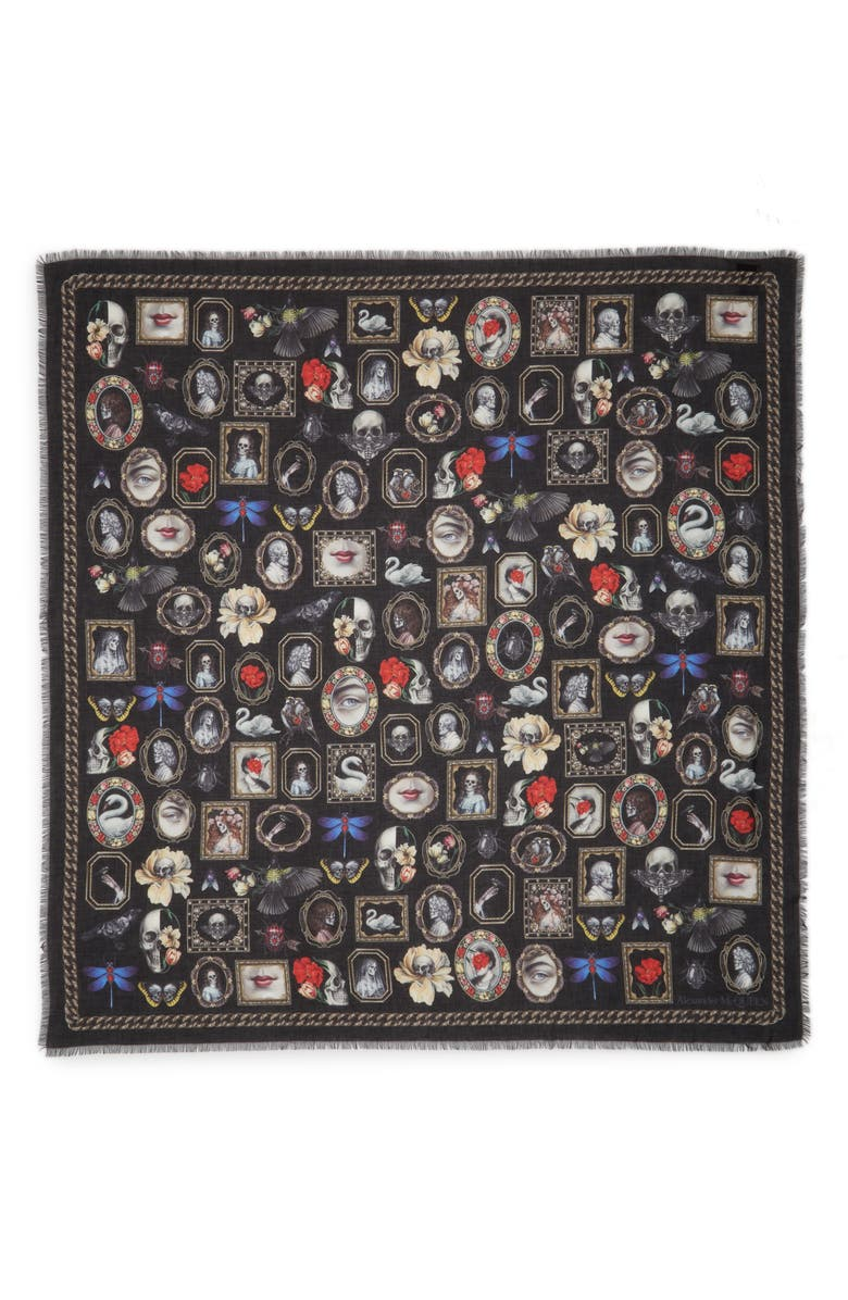 ALEXANDER MCQUEEN Cameo & Curiosities Modal & Wool Square Scarf, Main, color, BLACK/ BEIGE