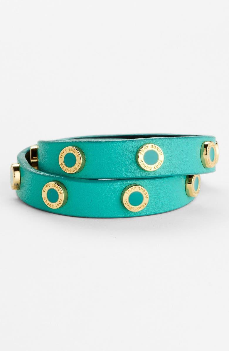 TORY BURCH 'Cole' Logo Double Wrap Bracelet, Main, color, 440