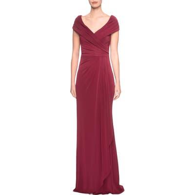 La Femme Ruched Jersey Column Gown, Burgundy