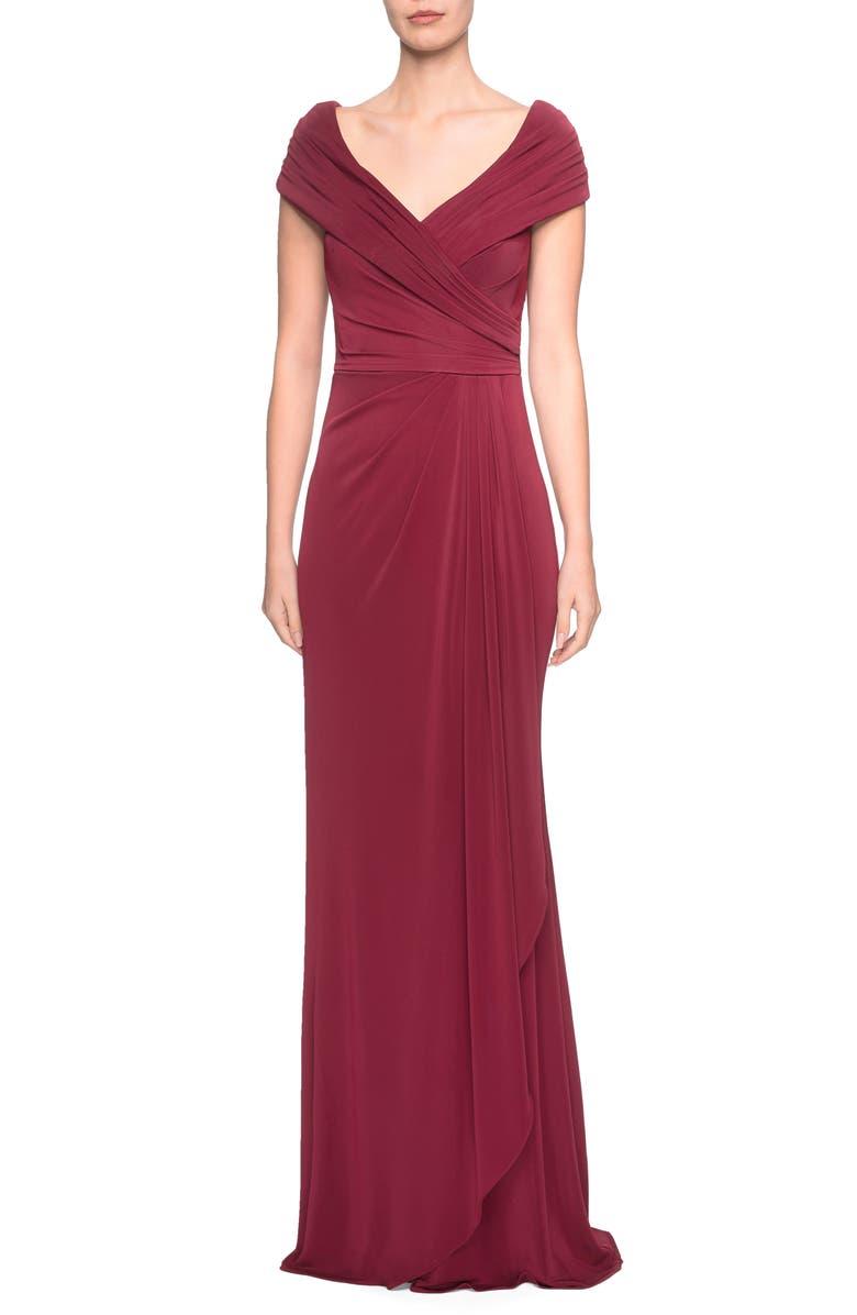 LA FEMME Ruched Jersey Column Gown, Main, color, WINE