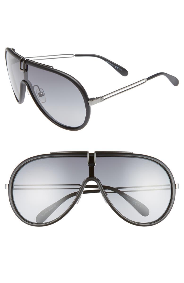 GIVENCHY 135mm Shield Sunglasses, Main, color, MATTE BLACK