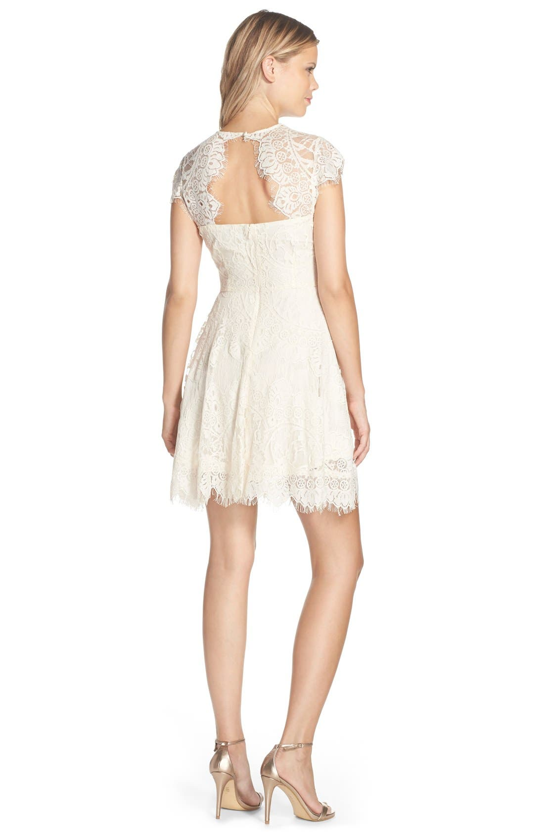 ,                             Rhianna Open Back Lace Fit & Flare Cocktail Dress,                             Alternate thumbnail 27, color,                             208