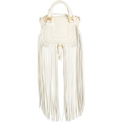 Chloe Mini Marcie Fringe Leather Crossbody Bag - Ivory