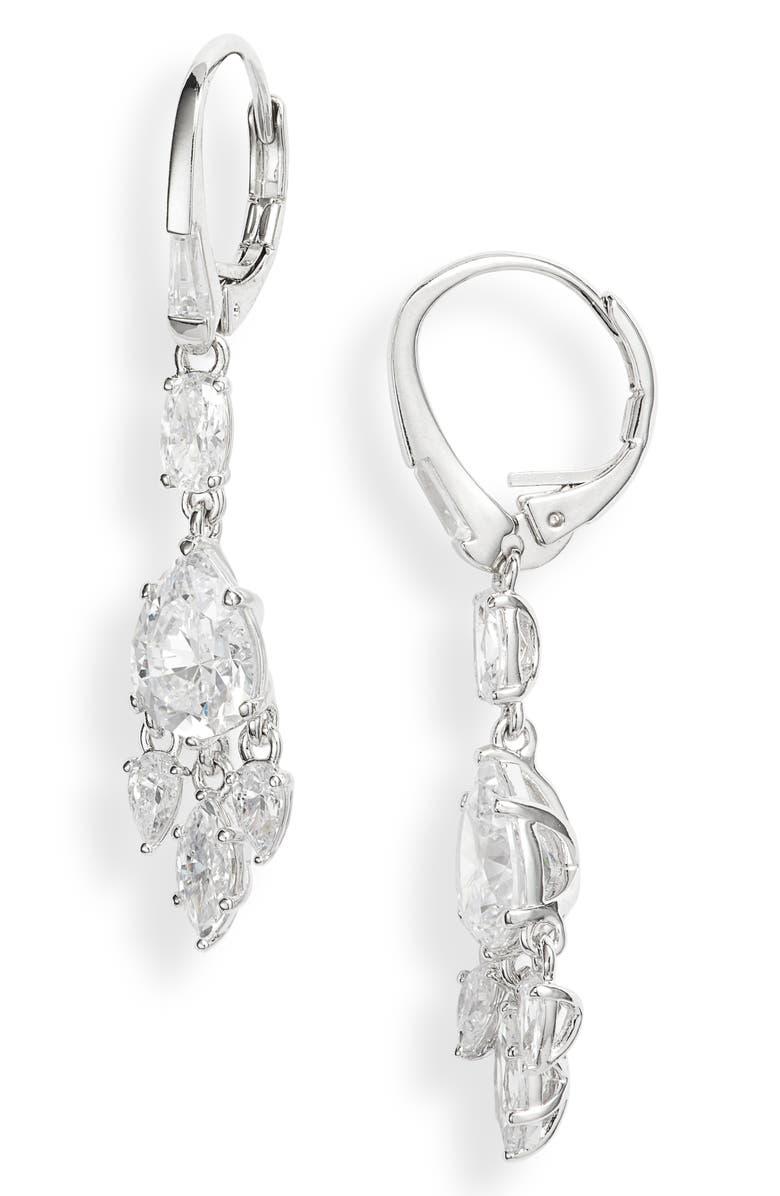 NADRI Gala Drop Earrings, Main, color, RHODIUM