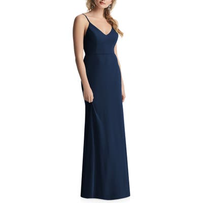 After Six Cowl Back Chiffon Trumpet Gown, Blue