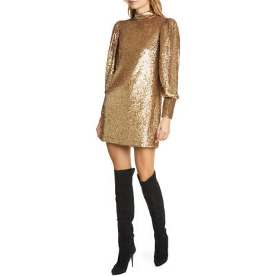 A.l.c. Christy Sequin Long Sleeve Minidress, Metallic