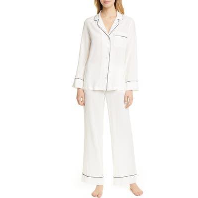 Equipment Avery Silk Pajamas, White