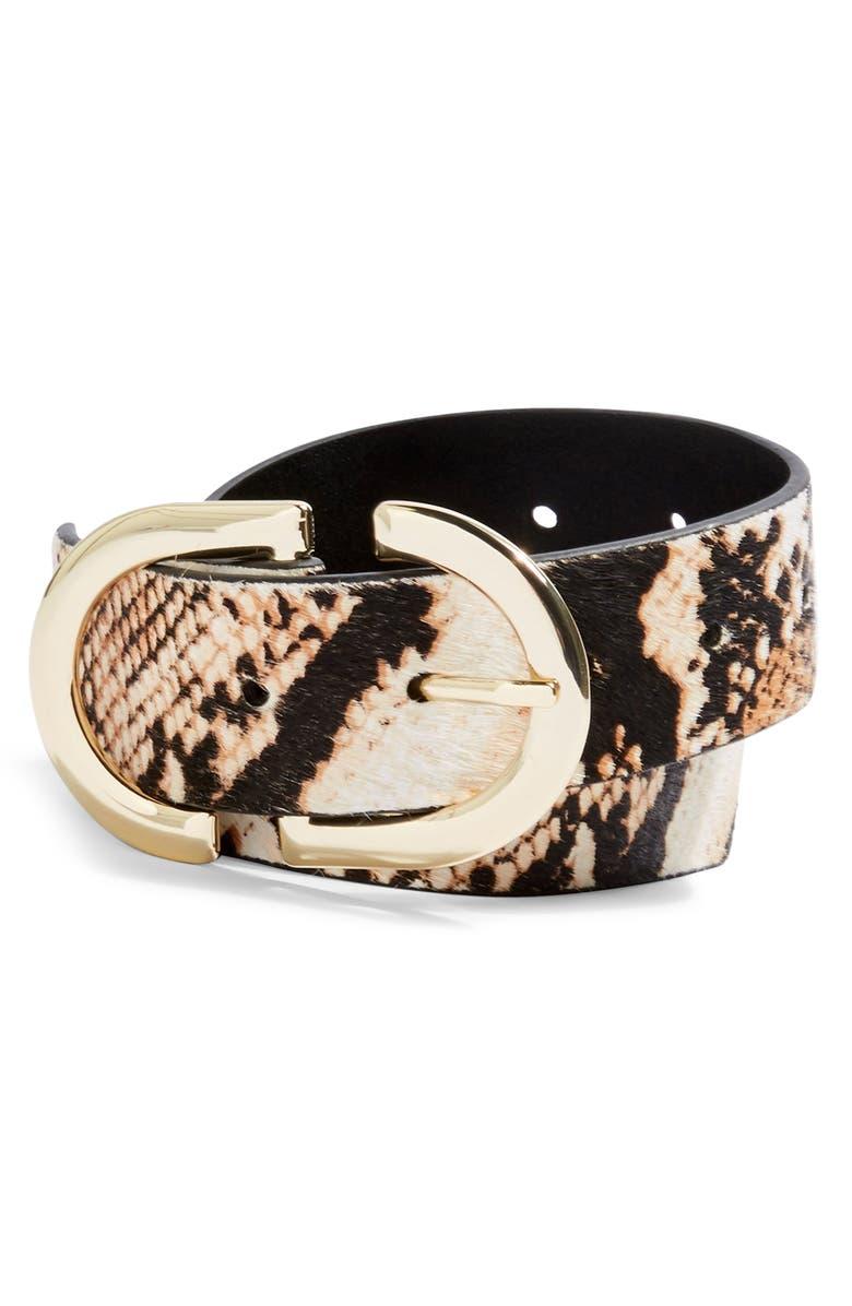 TOPSHOP Snake Print Genuine Calf Hair Belt, Main, color, BROWN MULTI