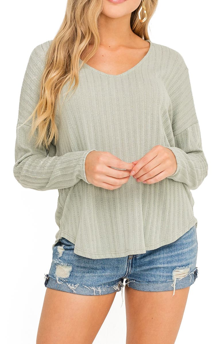 ALL IN FAVOR Pointelle Top, Main, color, SAGE