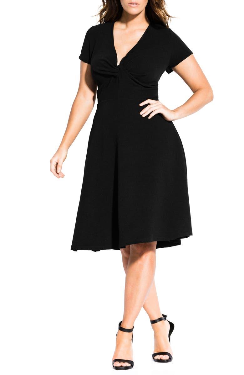 CITY CHIC Plunge Twist Neck Fit & Flare Dress, Main, color, BLACK