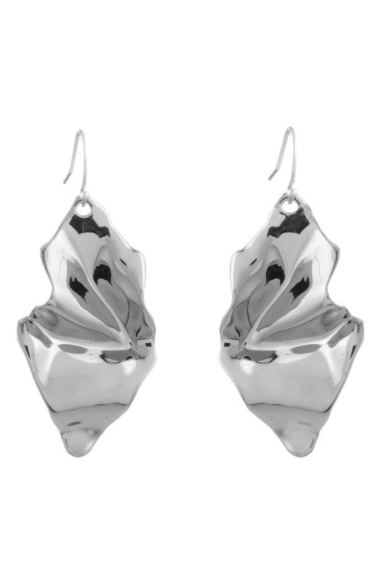 ALEXIS BITTAR Crumpled Drop Earrings, Main, color, SILVER
