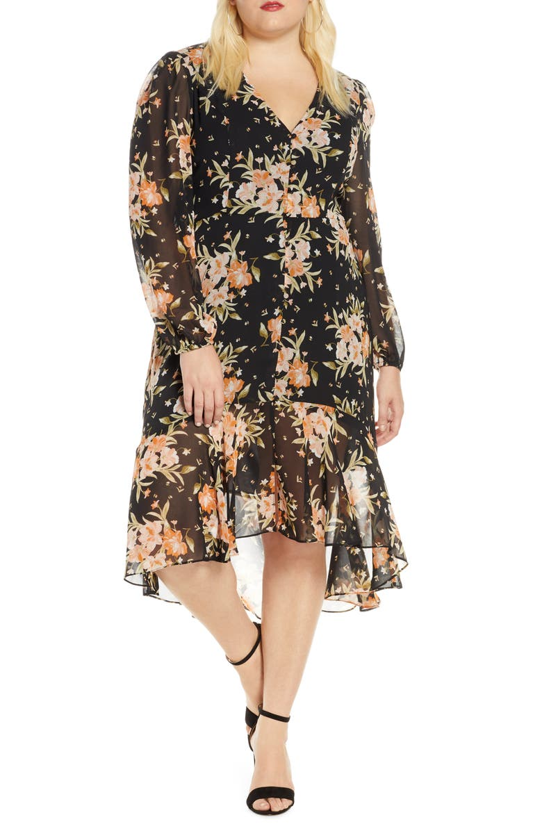 LEITH Floral Print Midi Dress, Main, color, BLACK BLUSHING FLORAL