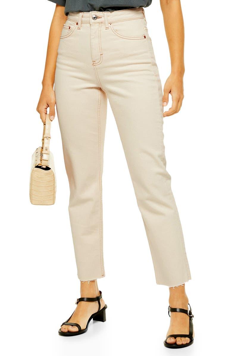 TOPSHOP High Waist Raw Hem Straight Leg Jeans, Main, color, 900