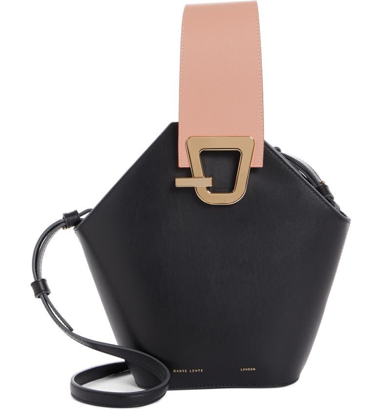 DANSE LENTE Johnny Leather Bucket Bag, Main, color, BLACK/BEIGE