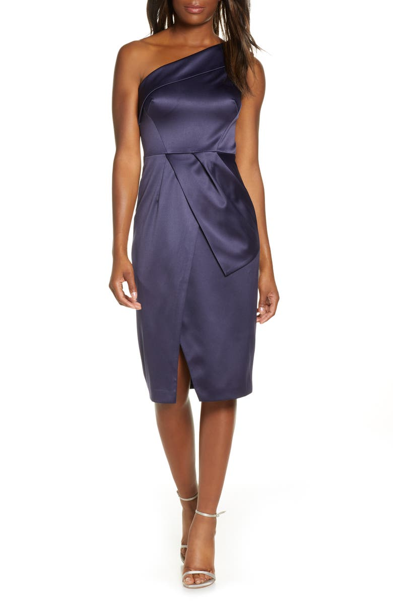 VINCE CAMUTO One-Shoulder Cocktail Dress, Main, color, NAVY
