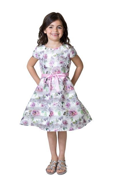 Image of Us Angels Floral Shadow Stripe Organza Dress