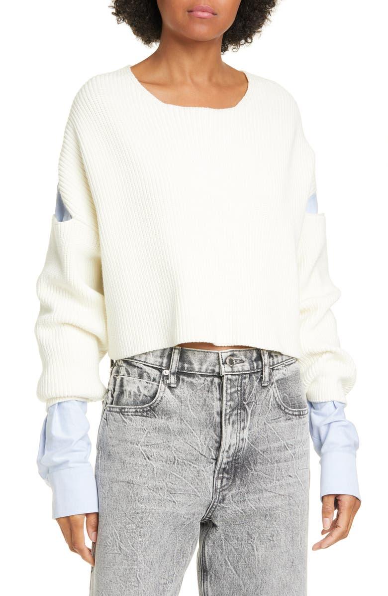 ALEXANDERWANG.T alexander wang.t Patchwork Crop Shirt Sweater, Main, color, IVORY