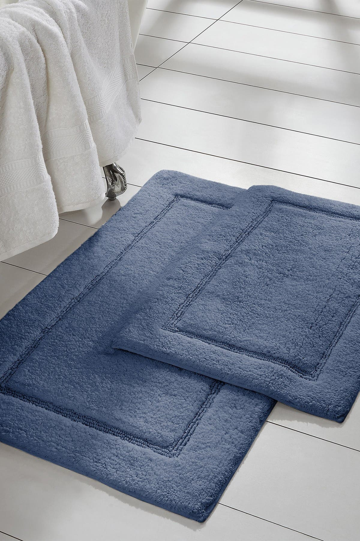 Image of Modern Threads Denim Solid Loop Non-Slip Bath Mat 2-Piece Set