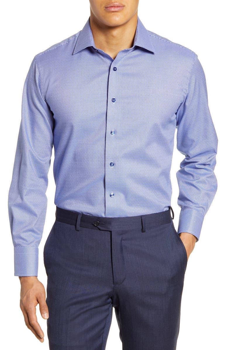 LORENZO UOMO Trim Fit Dress Shirt, Main, color, MIDNIGHT BLUE