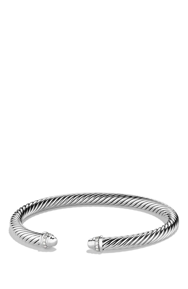 DAVID YURMAN Cable Classics Bracelet with Diamonds, Main, color, SILVER DOME