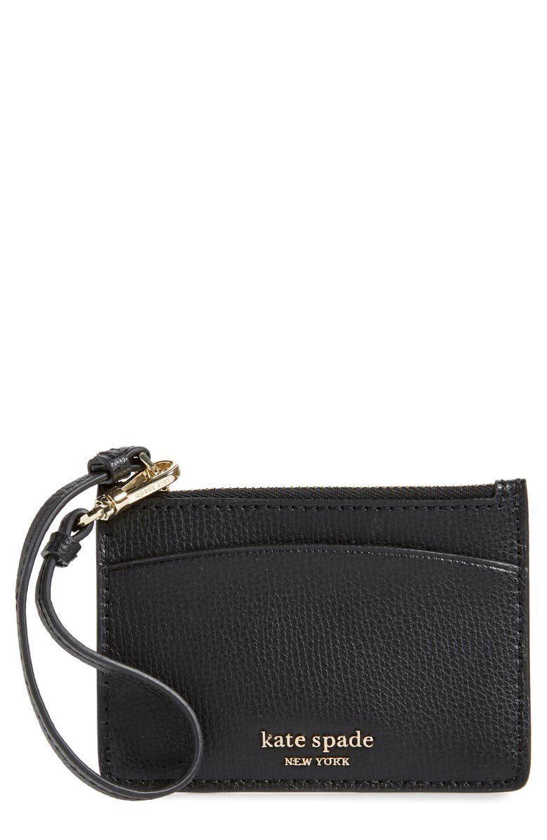 KATE SPADE NEW YORK sylvia leather card holder wristlet, Main, color, BLACK
