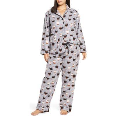 Plus Size Pj Salvage Print Flannel Pajamas, Grey