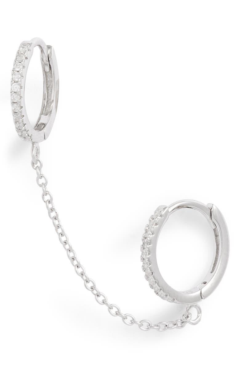 ADINA'S JEWELS Double Huggie Chain Earring, Main, color, 040